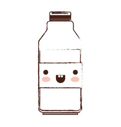 Kawaii milk bottle in brown blurred silhouette vector