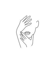 Line drawing art woman face with hands vector