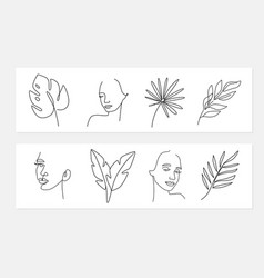 Line style portrait leaf with female vector