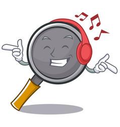 Listening music frying pan cartoon character vector