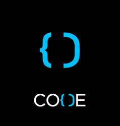 Logo code d monogram open close brackets vector