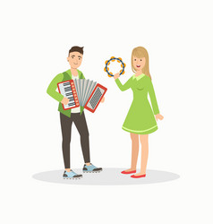 man and woman playing accordion and tambourine vector image