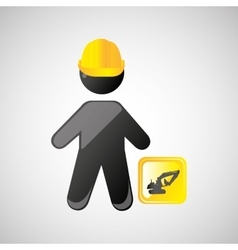 Man construction excavator design graphic vector