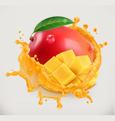 Mango juice fresh fruit 3d icon vector
