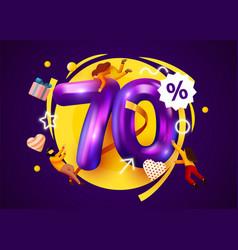 Mega sale 70 percent discount special offer vector