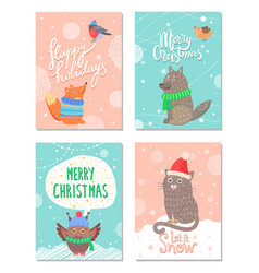 Merry christmas and happy holidays 60s postcards vector