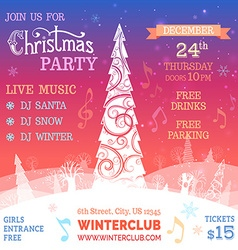 Merry Christmas music party template vector image