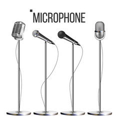 microphone set with stand music icon vector image
