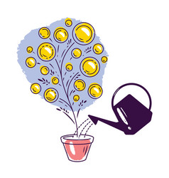Money tree watering can business finance concept vector