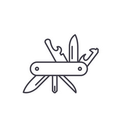 multi knife line icon concept multi knife vector image