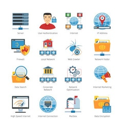 Network And Internet Flat Icons Set vector image