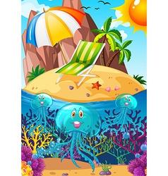 Ocean scene with jellyfish underwater vector image