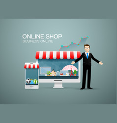 Online shop business online vector