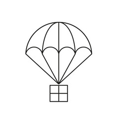 Parachute with cargo icon vector