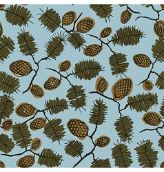 pattern with fir cone and twig vector image