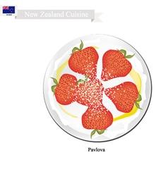 Pavlova Meringue Cake With Strawberries vector image