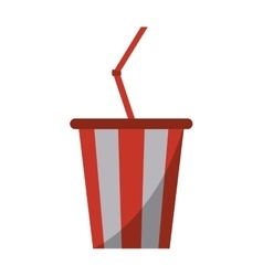 plastic cup soda with straw drink american vector image