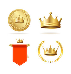 realistic detailed 3d king crown and royal vector image
