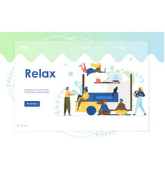 relax website landing page design template vector image