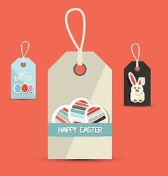 Retro Easter Paper Labels with Rabbit and Eggs vector
