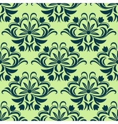 Retro light green floral seamless pattern vector image
