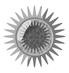 Round bacteria icon gray monochrome style vector