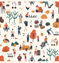 Seamless pattern with people pick autumn harvest vector