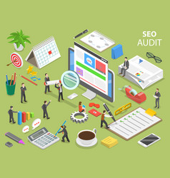 Seo audit flat isometric concept vector