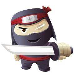 Serious ninja with sword vector