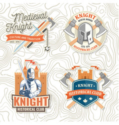 set knight historical club badge t-shirt vector image
