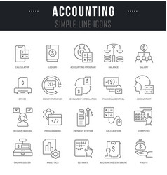 set line icons accounting vector image