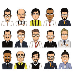 set of avatars businessman vector image