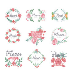 Set of flower shop logo design colorful vector