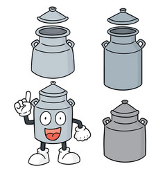 set of milk can vector image