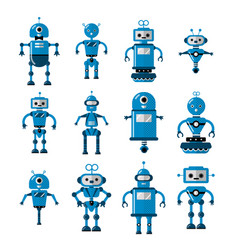 set robots in flat cartoon style cute vector image
