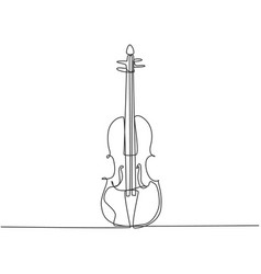 single continuous line drawing violin on white vector image
