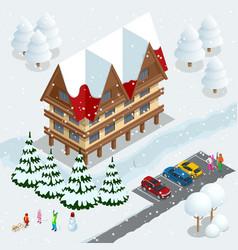 ski resort slope people on the ski lift skiers vector image