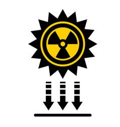 Solar radiation icon direct rays fall vector