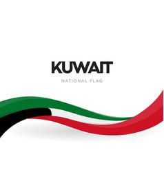 State kuwait waving flag banner kuwaiti vector