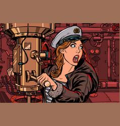 submarine a woman captain battle alert vector image