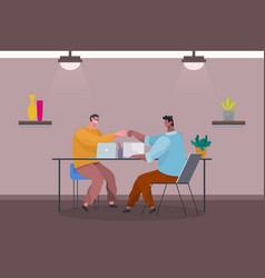 successful teamwork male characters coders vector image