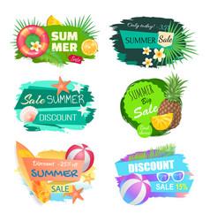Summer summertime sales set vector