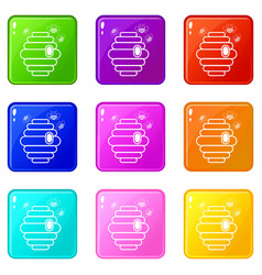 swarm icons set 9 color collection vector image