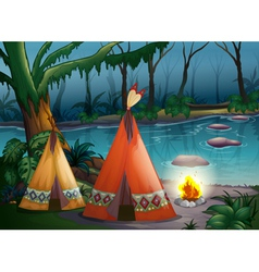Traditional indian tents in the woods vector image