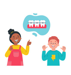 trendy kids with teeth bracesdental care vector image