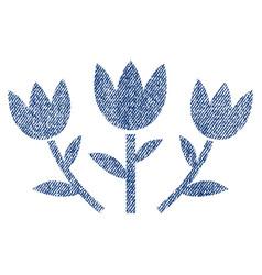 Tulip flowers fabric textured icon vector
