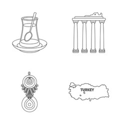Turkish tea amulet ruins antiquity map of vector