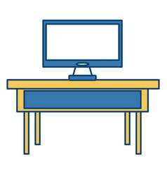 Tv on desk vector