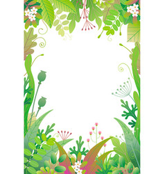 vertical floral frame with green plants vector image