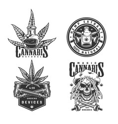 Vintage monochrome cannabis logotypes set vector